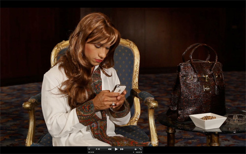 Fatima Al Qadiri and Khalid Al Gharaballi, still from Mendeel Um A7mad (NxIxSxM) (2012).