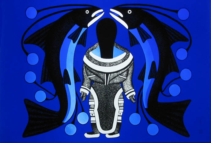 Kenojuack Ashevak, Woman with Fish (2006)