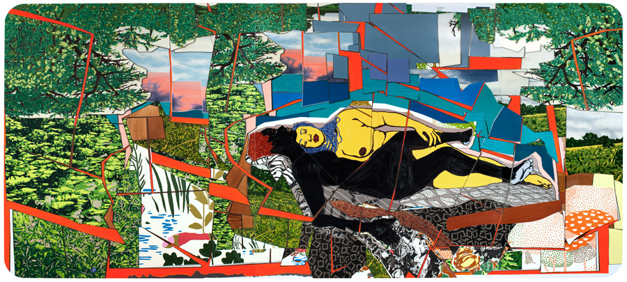 Mickalene Thomas, Sleep: Deux femmes noires, 2012. Rhinestones, acrylic, and enamel on wood panel, 108 x 240 in., 274.3 x 609.6 cm. Courtesy of the artist, Susanne Vielmetter Los Angeles Projects, and Artists Rights Society (ARS), New York. © 2012 by Mickalene Thomas. Permission to reprint may be obtained only from the artist.