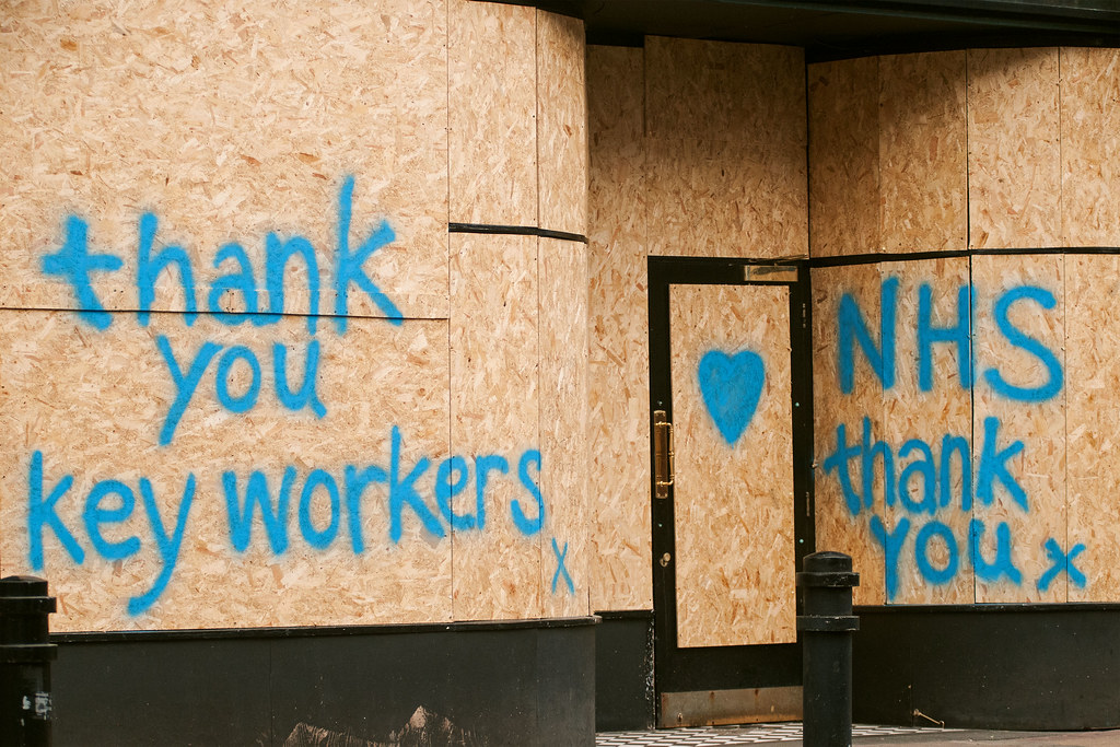 Graffiti thanking NHS workers